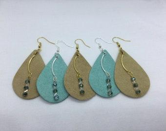 Glass & Leather Earrings