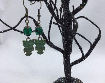 Owl & Bead Earrings