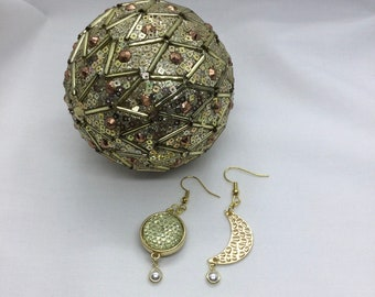 Crescent and Full Moon Earrings