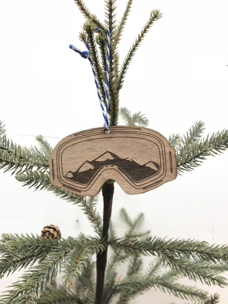 Stocking Stuffer Ski Christmas Tree Ornaments Snowmobiling Ski Ornaments Winter Sports Ornament Goggles Mountains Snow Wooden Ornament