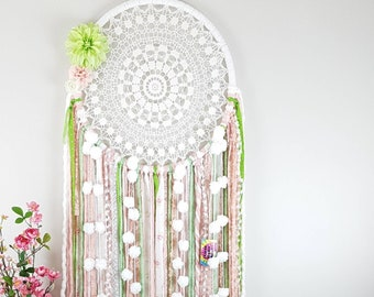 Shabby chic wall decor, dreamcatcher for girls room, pink, green, floral spring vibes decor.