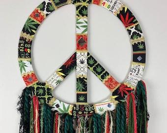 Cannabis wall hanging, marijuana home decor, Mary Jane wall art, 420, weed decor peace sign