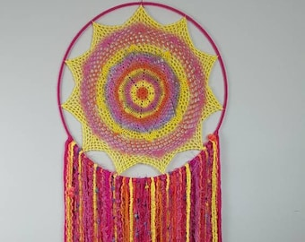 Hand dyed doily dream catcher wall hanging, bright pink, orange and yellow, boho decor for the home.
