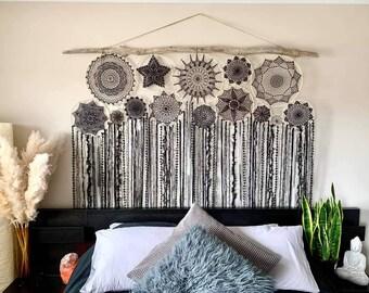 Black wedding backdrop, rental, statement piece, boho dreamcatcher cluster for goth wedding, fringe decor, wall hanging, bed headboard