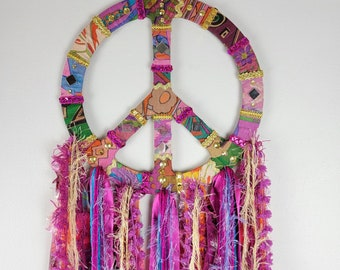 Boho peace sign wall art. Hippy home decor, multi colored, eclectic.