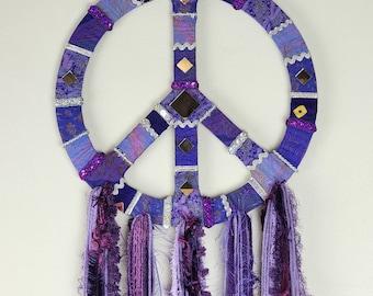 Purple peace sign wall hanging. Boho home decor, hippy wall art