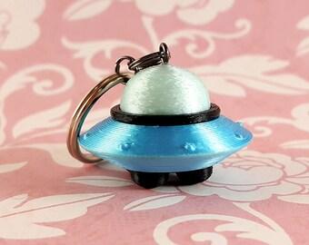 cute 3d printed spaceship keyring Teal /& black UFO keychain
