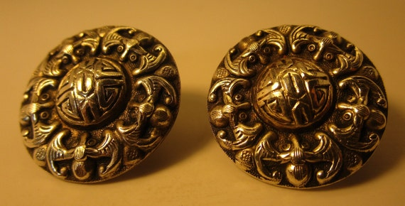 Vintage Chinese Silver Shou Earrings, Screwbacks