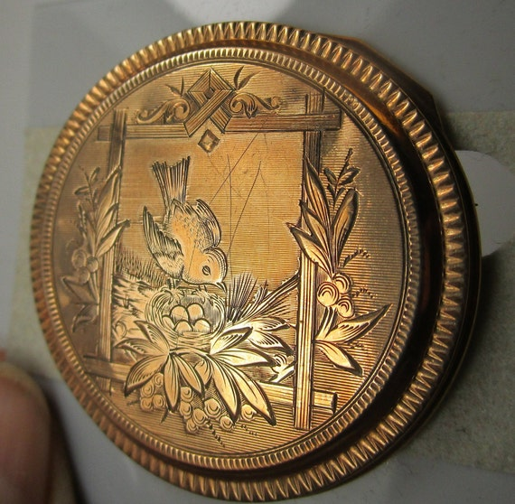 Antique Watch Case Pin Brooch Engraved Bird Nest