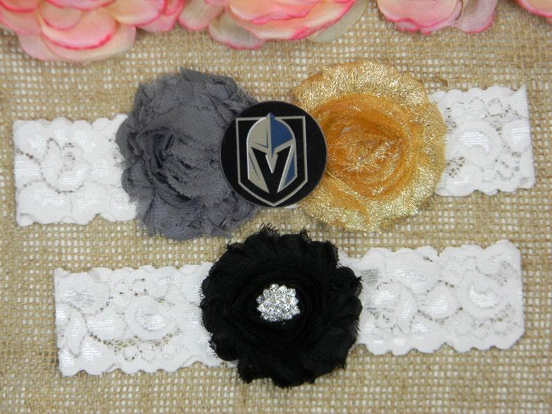 Sports Team Bridal Garter and Toss Garter Set Dark Gray Metallic Gold and Black Knights Hockey Wedding Garter Set Flower Wedding Garter