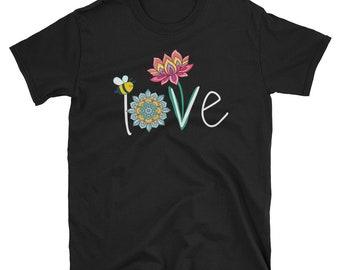74f7433bb Namaste Love bee lotus yoga floral unisex t-shirt, love floral t-shirt,  love yoga t-shirt, Namaste Love t-shirt