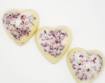 Heart shaped Homemade Lotion Bar, Rose petals, Hard Lotion Bar, Handcrafted Lotion