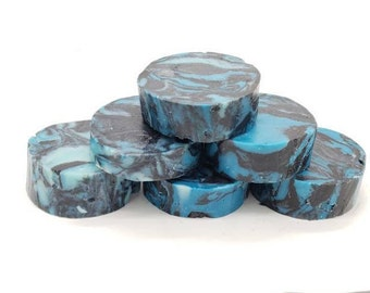 Blue Round Swirled Handmade Soap, Homemade Soap, Cold Process Soap, Natural Soap