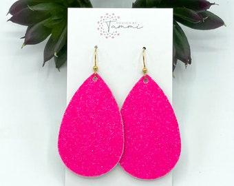 Fuchsia bohemian dangle earrings Pink hoop earrings Gift for her Barbie pink earrings Wire wrapped boho earrings Hot pink earrings