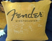 FENDER STRATOCASTER-golden yellow white black graphic repurposed distressed cotton knit tee shirt pillow cover-14.5x14.5