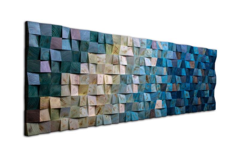 Wood Wall Art  Nautical Decor  Large Wall Art  Ocean Blue image 0