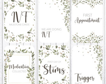 IVF Milestone Cards, 4x6 Cards.  Instant Download.