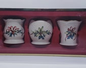 Vintage Lenox Votive Tea Light Candle Holders with Christmas Holly And Red Ribbons Winters Greetings Set Of Three FREE SHIPPING