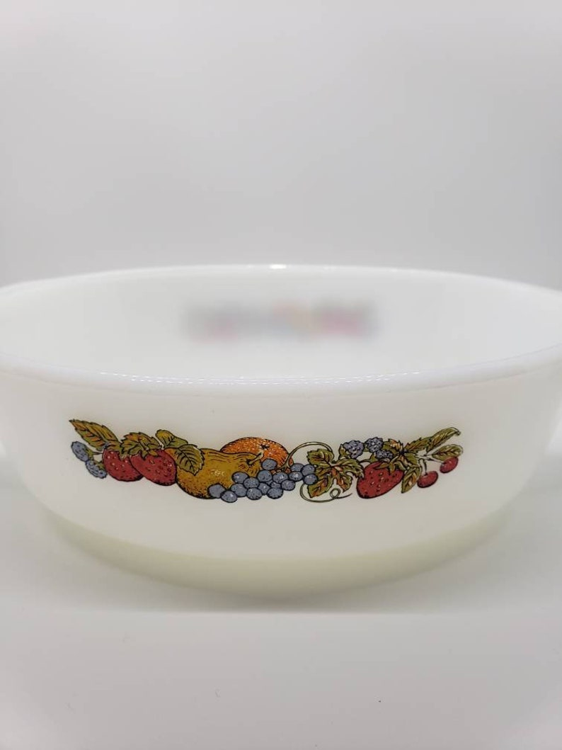 Vintage Anchor Hocking Fire King Caserole Dish Natures Bounty Fruit Design FREE SHIPPING