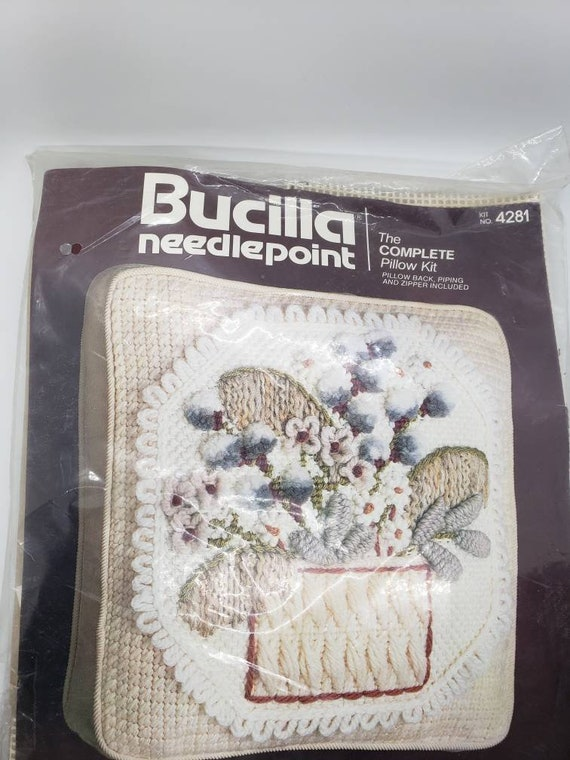 Vintage Bucilla Needlepoint Artistry Pulled Thread 14 Pillow Square Box Shape Kit #4833