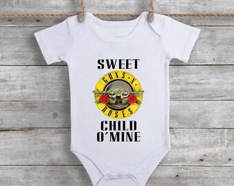 21189edc42f9 Guns N Roses Inspire Onesie, Rock N Roll Baby Bodysuit, Rock & Roll Onesie,  Rocker Baby