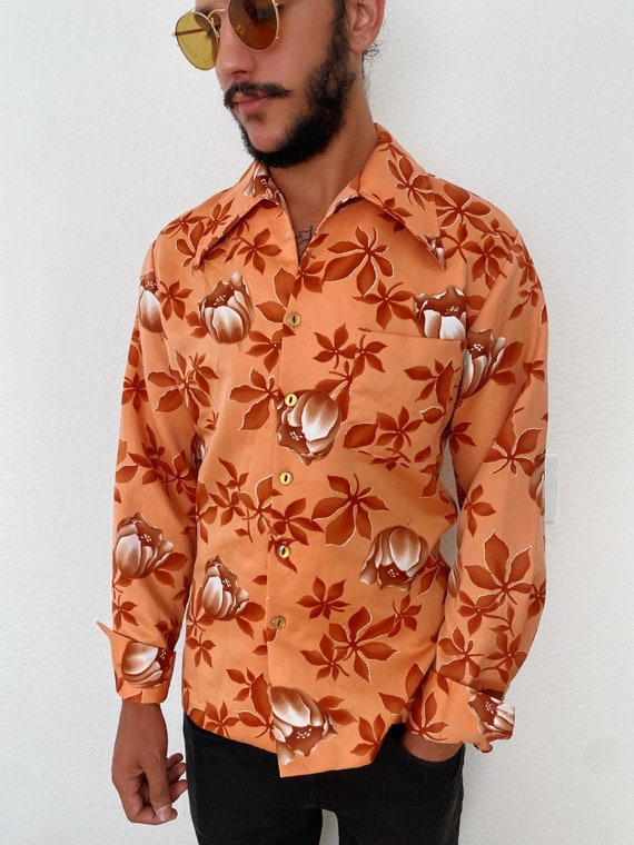 70s Hawaiian Floral Polyester Button Up