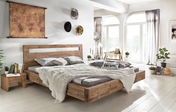 designer fashion bee1f d734e Woodkings bed Marton 180x200 wooden bed bed frame double bed real wood  acacia brushed bedroom Furniture