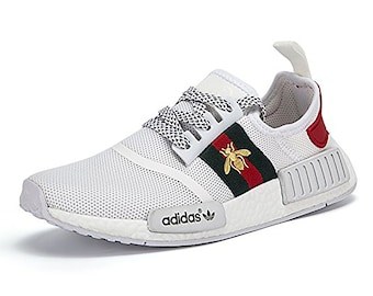Custom Adidas Gucci Nmd Bee Sneakers louis vuitton style paint run shoes supreme mens womens athletic white green red inspired by designer