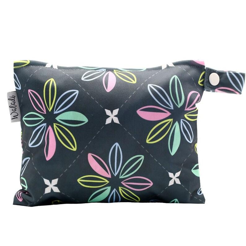 Dark Flowers Small Waterproof Wet Bag with Zip 19 x 16cm