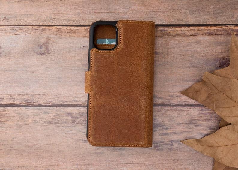 Magnetic Detachable iPhone 11 pro case women iPhone 11 Wallet Case Men Apple iPhone 11 Pro Max Phone Case Leather Tan
