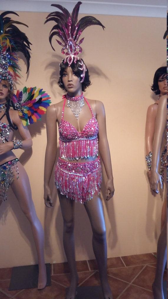 Carnival Full Costume Size 8-10 Drag Queen Brazilian SAMBA Bikini 5 piece SET