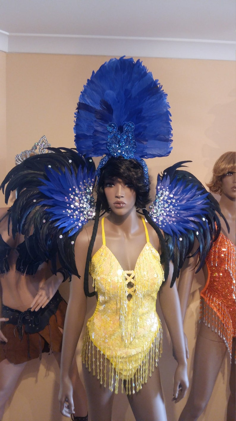 NEW DARK BLUE Feather Wings,Stage Performance,Dance wear,Drag Queen,Gay Guy-Brazilian Rio Costume.Samba Beads Carnival-Backpack,Headpiece