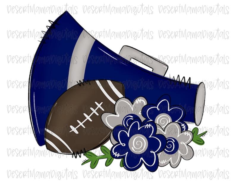Blue And Grey Football Megaphone Png Sublimation Design Clip Art Digital Download Printable Floral Sketch Watercolor