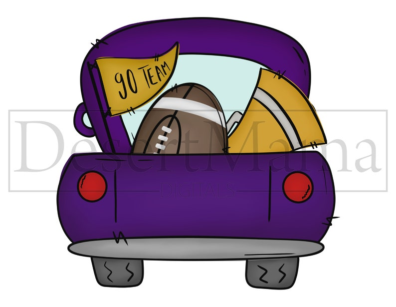 printable vintage truck Purple and Gold Football Truck PNG clip art Sublimation design sketch digital download tailgate watercolor