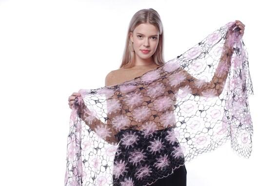 c6563f34a Crochet Russian Orenburg shawl PREMIUM SHAWL Pink wrap