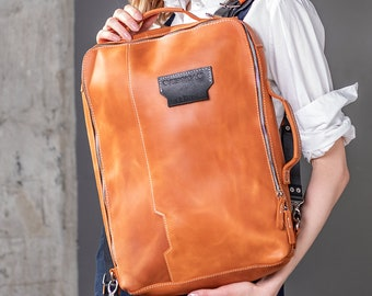 Convertible backpack Crossbody laptop bag, Leather gift for her