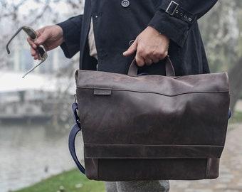 Personalized LEATHER MESSENGER bag men * leather briefcase men