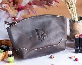 Mini makeup bag leather, Personalized gift for mom, Makeup organizer