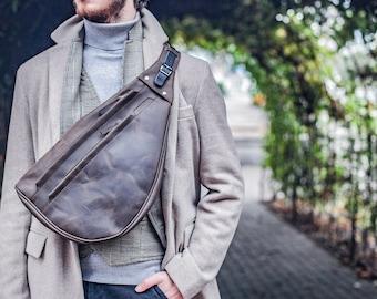 Mens sling bag, One strap bag, Leather backpack