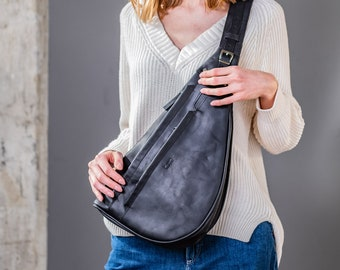 Sling bag for woman, gift for her, black backpack