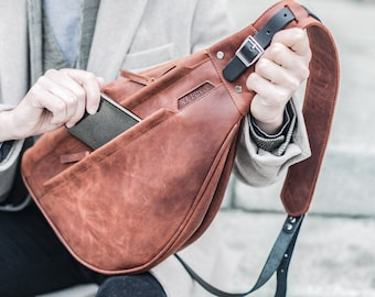 Leather bum bag, Shoulder bag, Fanny pack for woman