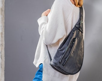 Leather cross body bag, college student gift, leather sling purse