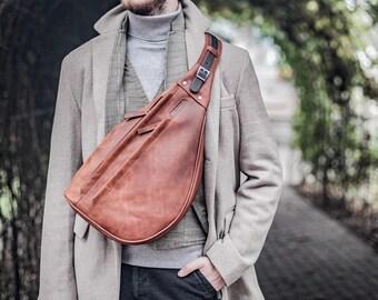 Personalized Leather Sling bag, Custom fanny pack, Leather satchel men