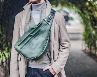 Personalized Sling bag men, Green crossbody bag, gifts for men