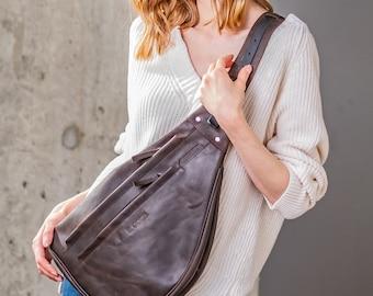 Ladies sling bag, chest bag, shoulder bag, brown leather sling
