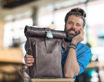 Handmade custom LEATHER BACKPACK MEN Roll top ' Designer backpack women ' Twill lining