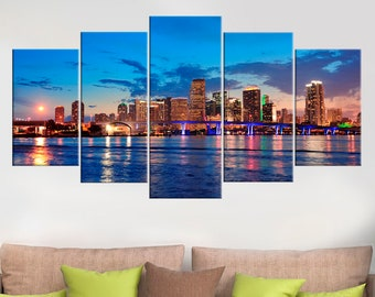 Miami Skyline At Night Canvas Print Florida Wall Decor Full Color Home Cityscape Art Cities Houses Skyscrapers