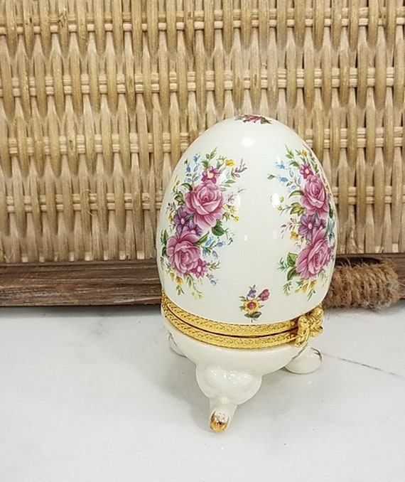 gold  interior surround at join gold on feet French Vintage floral panels and design hinged China egg shaped trinket box