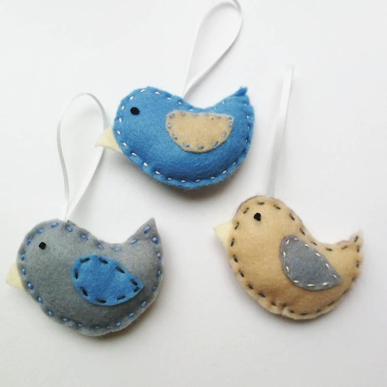 Plush Felt Bird Decorations  Handmade Birds  Nursery Decor  Felt Animals