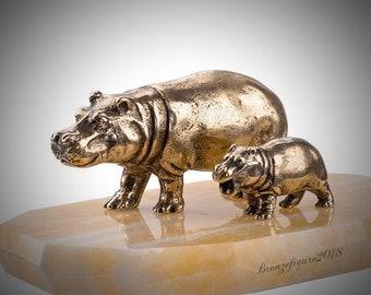 Solid Bronze Hippopotamus Figurine. Bronze Hippo Sculpture Statue